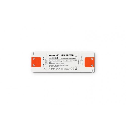 20W Constant Voltage LED Driver, 200-240VAC to 12VDC, Non-Dimmable
