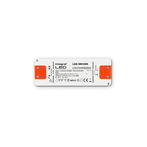 40W Constant Voltage LED Driver, 200-240VAC to 12VDC, Non-Dimmable