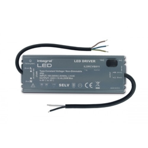 Integral-LED IP65 250W Constant Voltage LED Driver, 100-240VAC to 24VDC, Non-Dimmable