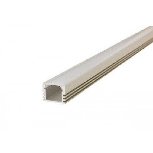 1M Surface Mounted Aluminium Profile for Strips, Frosted cover included, suitable for 8mm/10mm width IP33/IP65 Strip, 16(W)x12(D)mm