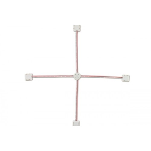 LED Strip IP33 4-way Connectors (5 pcs) - Four connector ends joined by wire for 10mm width 24V strips (2835 SMD)